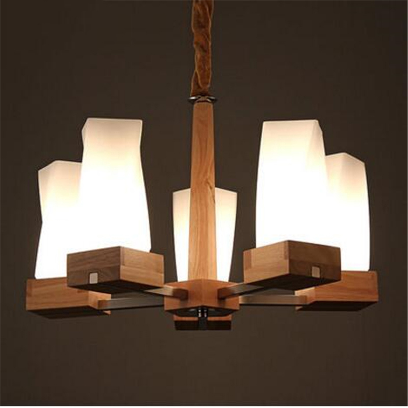 3/5/8 Heads Modern Home Wooden Pendant Lamp Japanese Style Glass Shade Cafe Light Restaurant Cafe Livingroom Lamp Free Shipping free shipping european style modern luxury brief crystal candle pendant lamp with 3 heads 5 heads