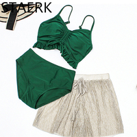 2019 High Waist Bikini Set Vintage Retro Sexy Push Up Swimsuit Bandage Swimwear Bathing Suit Green ruffle Beachwear 3 Pieces