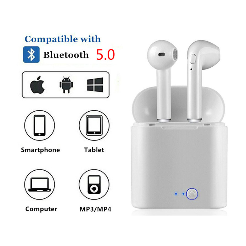1 pair i7s tws Mini Bluetooth Earphone Wireless Earphones With Charge Box with mic For iphone for huawei for all smart phone(China)