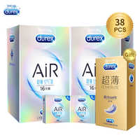 Durex condones Air Ultra fino Invisible lubricado condón de látex Natural pene manga anillo para pene Productos eróticos juguetes sexuales para hombres