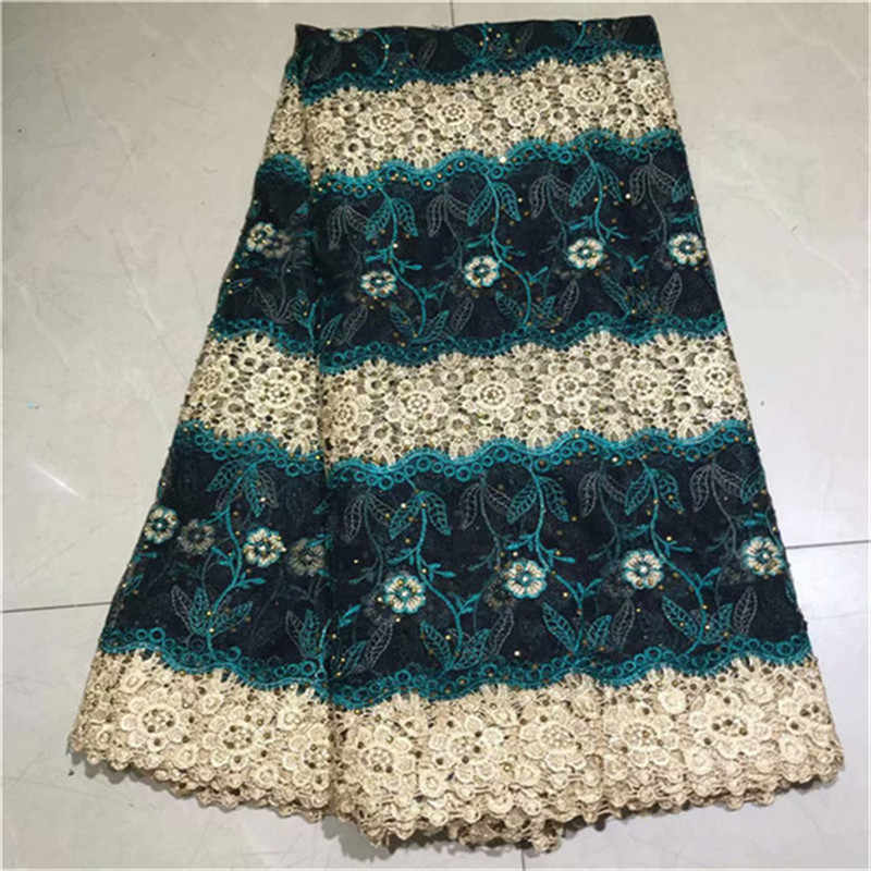 New gold green Design African Cord Lace Guipure Lace Fabrics High Quality 2019 stones Latest Fashion African Lace Fabric