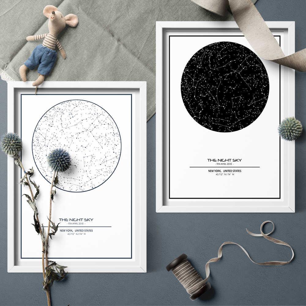 custom night sky print framed star map constellations