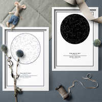 Minimalism Black And White Custom Night Sky Star Map Canva Painting Prints Wall Art Picture For Home Decor Star Map No Frame