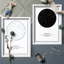 Minimalism Black And White Custom Night Sky Star Map Canva Painting Prints Wall Art Picture For Home Decor No Frame