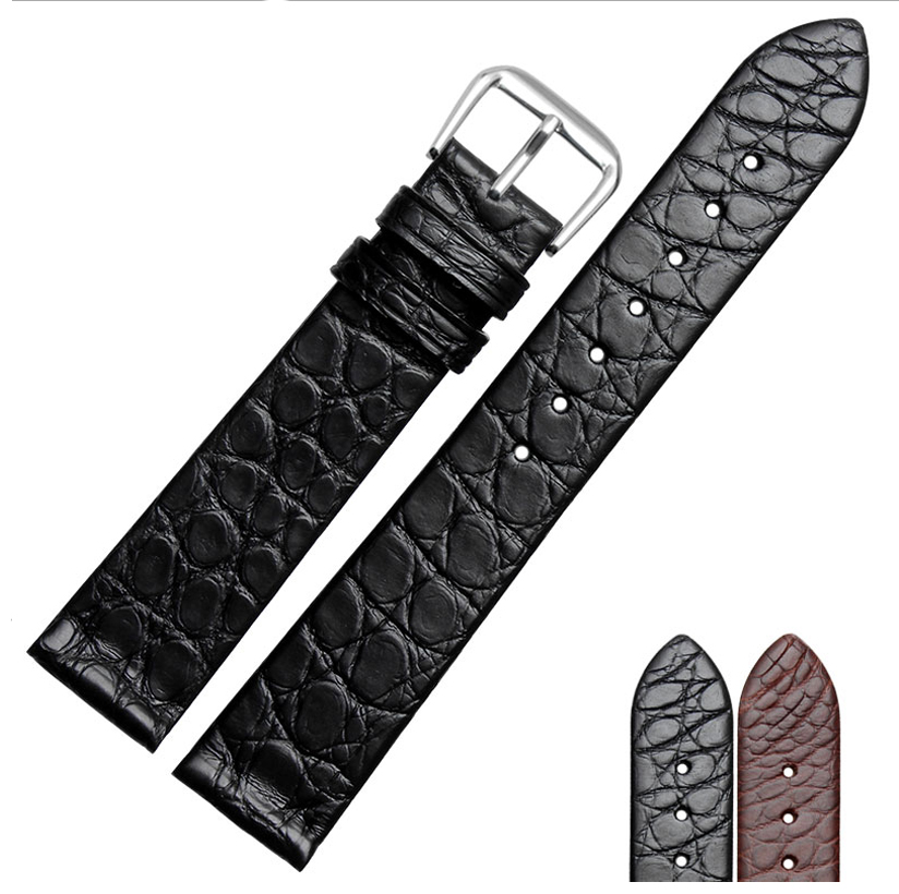 13mm 18mm 20mm 22mm thin black and brown alligator leather watchband wristwatch fine mist available