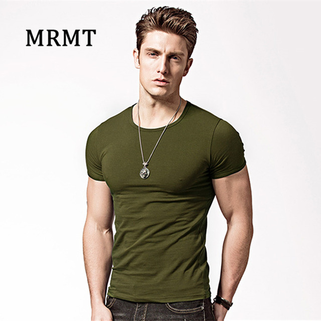 Tight cultivate one's morality t-shirts v-neck collar pure color T-shirt man Render vest male Sapphire v-neck Men's Tees & Tank Tops
