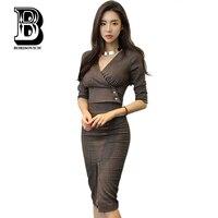 Borisovich High Quality 2 Piece Set Office Dress Suit New 2017 Fashion V Neck Sexy Slim