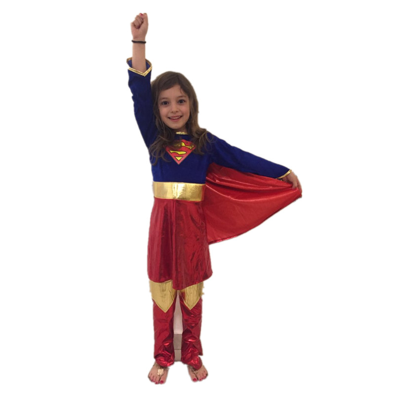 Christmas Party Girls Superman Costume Cosplay Supergirl Kids Super Hero Halloween Costume For Girls New Year Fancy Dress