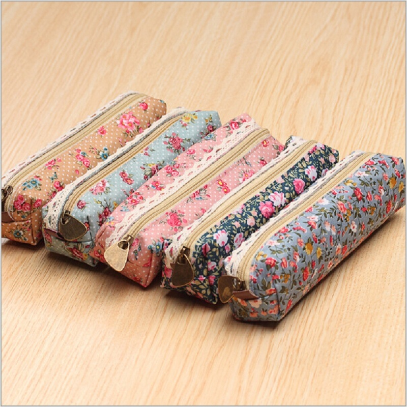 1PCS Fresh Canvas Retro Style Lace Fringe Little Flower Dot Multi-function Zipper Pencil Bag Student Gift Stationery Storage Bag