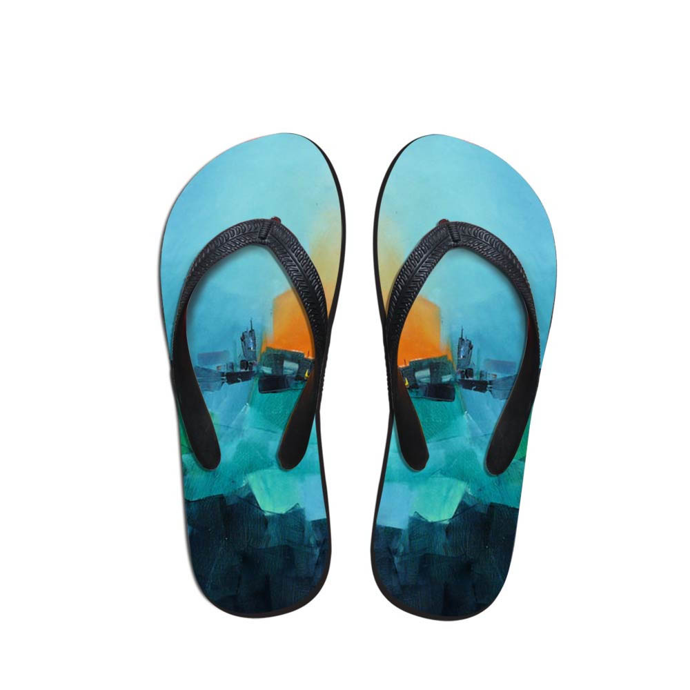 OutdoorBlue Village Painting Men's Flip Flops Beach Shoes Outside Sandals Flops Sandals Man Summer Daily Wear Flop