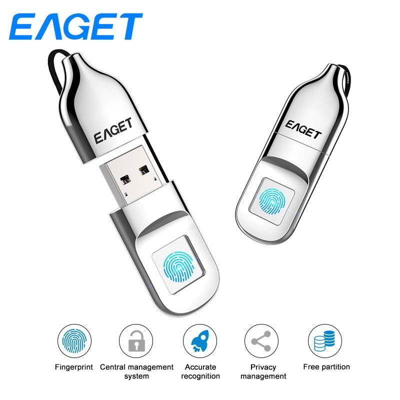 Eaget USB Flash Drive 32 GO Usb 2.0 Flash Disque Pendrive 64 GB Cryptage D'empreintes Digitales Stylo lecteur U Disque Mini USB Bâton Pour PC Portable