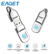 Eaget USB Flash Drive 32GB Usb 2.0 Flash Disk Pendrive 64GB Fingerprint Encryption Pen drive U Disk Mini USB Stick For Laptop PC