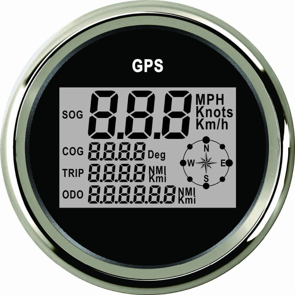 Boat Car 85mm Digital GPS Speedometer Odometer 0 999 knots km h mph 12V 24V With