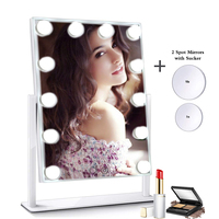 Hollywood Style Makeup Mirror with Lights LED Bulbs Cosmetic Tabletop Adjustable Brightnes Lighted Vanity with 10x Spot Mirror