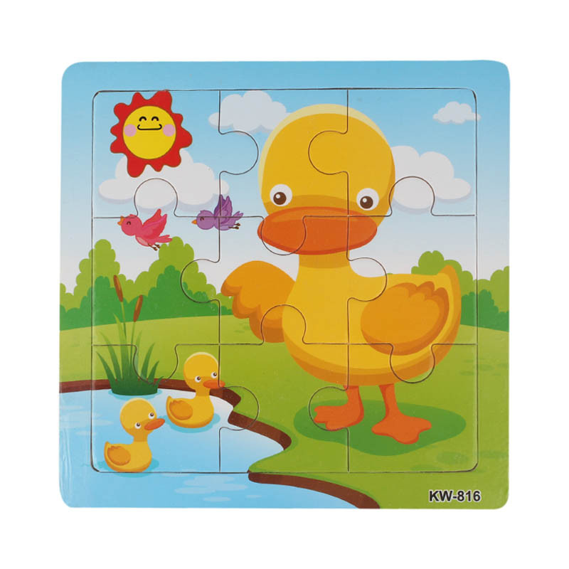 HIINST Toy 9pcs Educational Kids Wooden Toys Wooden Duck Jigsaw For Kids Education And Learning eye-hand coordination Toy ...