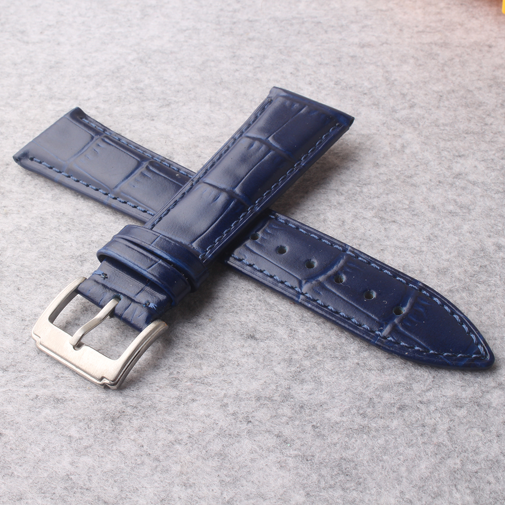 цена на New Dark Blue Genuine cowhide Leather 22mm 16mm 18mm 19mm 20mm watches strap Belt Watchband Pin Clasp Buckle for wristwatch men