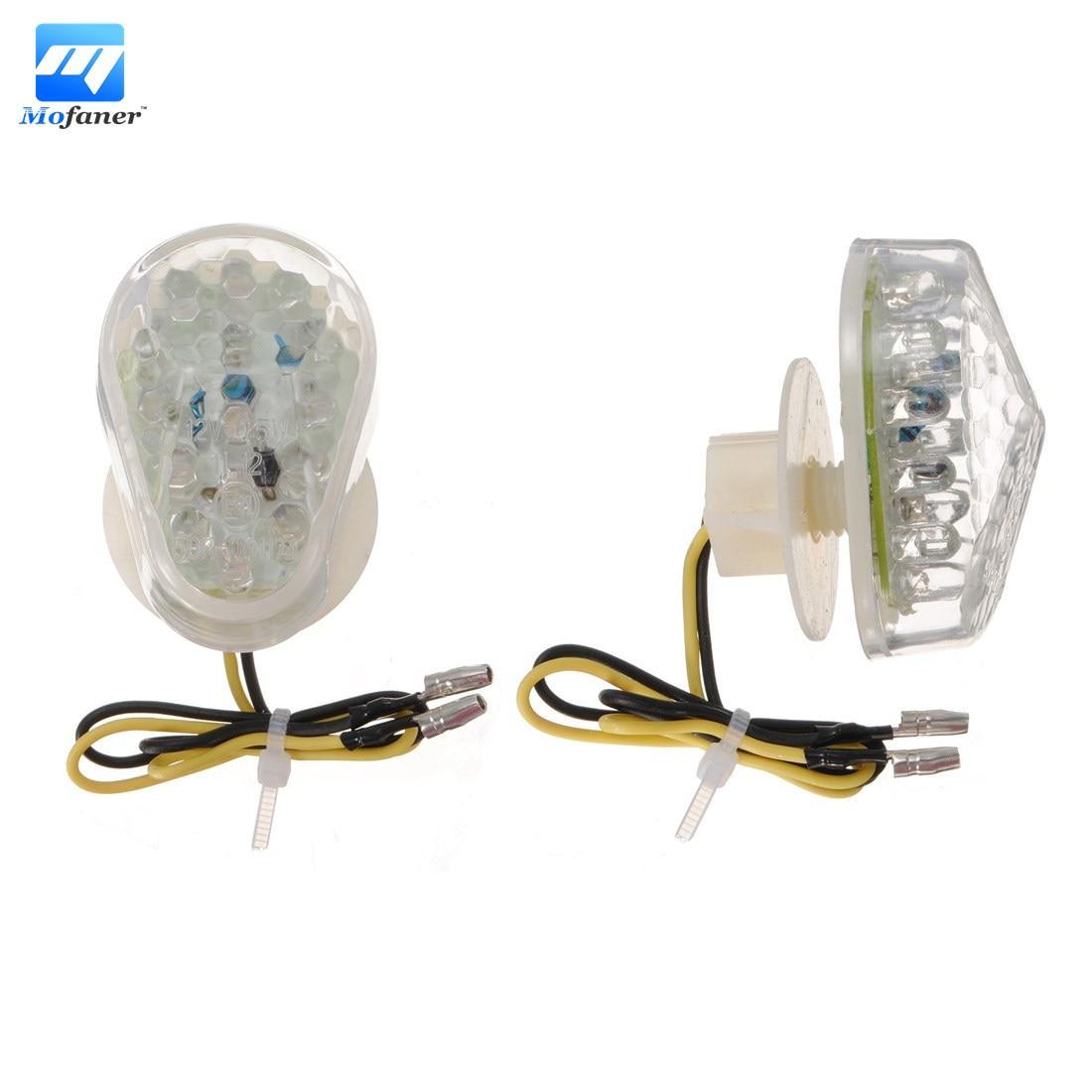 2 PCS Flush Mount LED Turn Signal Lights For Kawasaki Ninja ZX7R 1996-2003 99 ZX12R 2000-2005