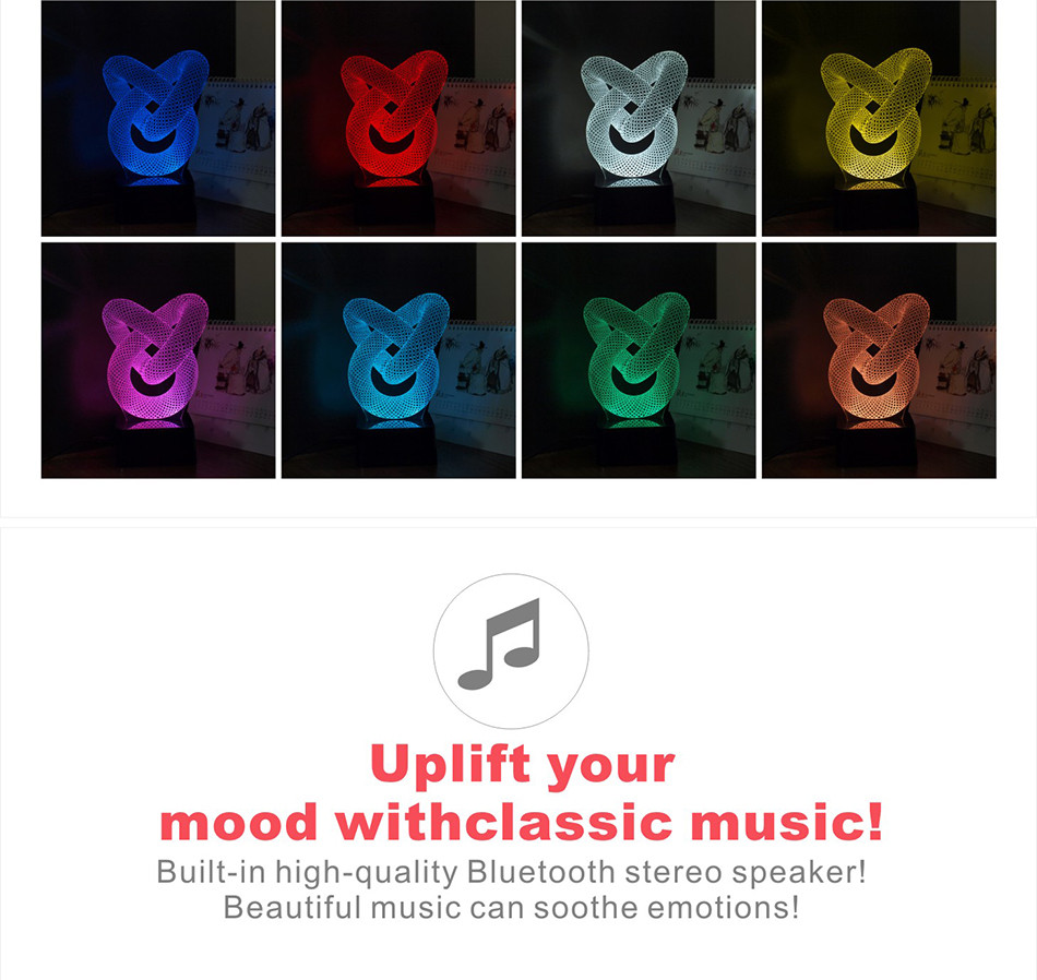 Novelty Christmas Light for Chiese Knot 3D Led Besides Lamp Music NightLights with Bluetooth Speaker (3)