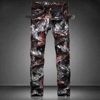 Yüksek Kalite 3D Baskılı Kot Erkekler Moda Klasik Slin Fit Denim Erkek Jeans 2017 Elastik Biker Erkek Kot Rahat Erkek giyim
