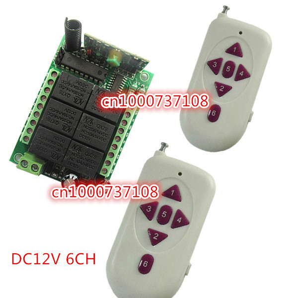 RF Wireless Garage Door Remote Control 12V 6CH RF TX RX With CE certificater Fixed code Momentary/Latched M6/L6 relay switch