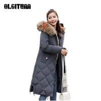 New 2018 Winter Padded Coat Hooded Long Sleeve Warm Long Jacket Slim Cotton Coat Plus Size Women Outwear Chaqueta Mujer CC650