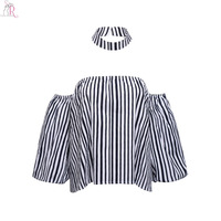 Blue Off Shoulder Striped Blouse Three Quarter Puff Sleeve Loose Casual Top 2016 Women Autumn Streetwear