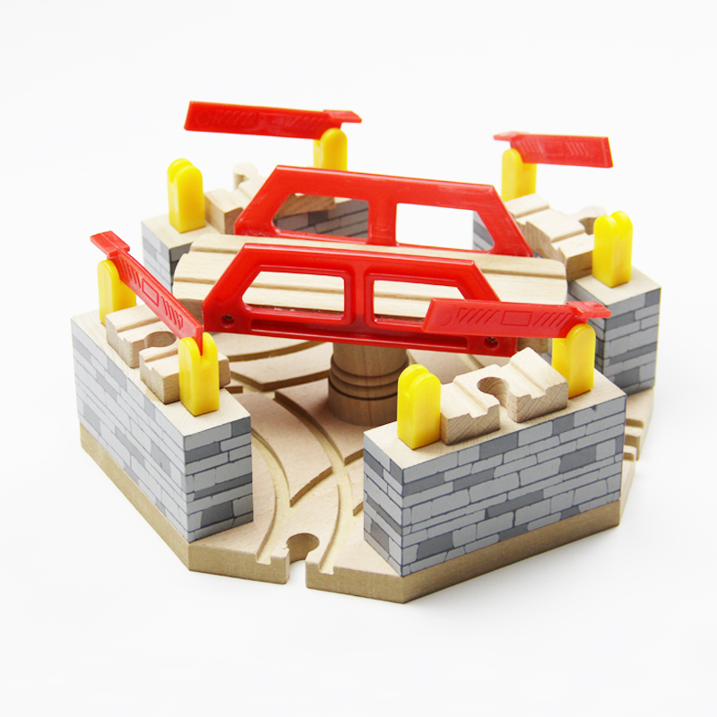 P053 Luxury Four Directions Multifunction Rotating Upper And Lower Bridge Traffic Hub Wooden Track Train Sets Accessories