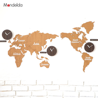 Mandelda Large Silent Wall Clock World Map Multiple Wall Clocks Wall Clock Modern Design Clocks For Home Decor Watch