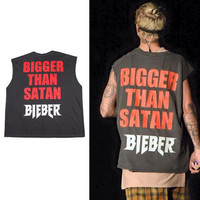 2018 The New Hot Justin Bieber Style Extended Sleeveless Tops Man Punk Rock Shirt Cotton Tank