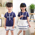 Prendas de vestir uniforme escolar infantil y coro de estudiantes de la escuela primaria lectura Británica de manga corta uniformes escolares estudiante