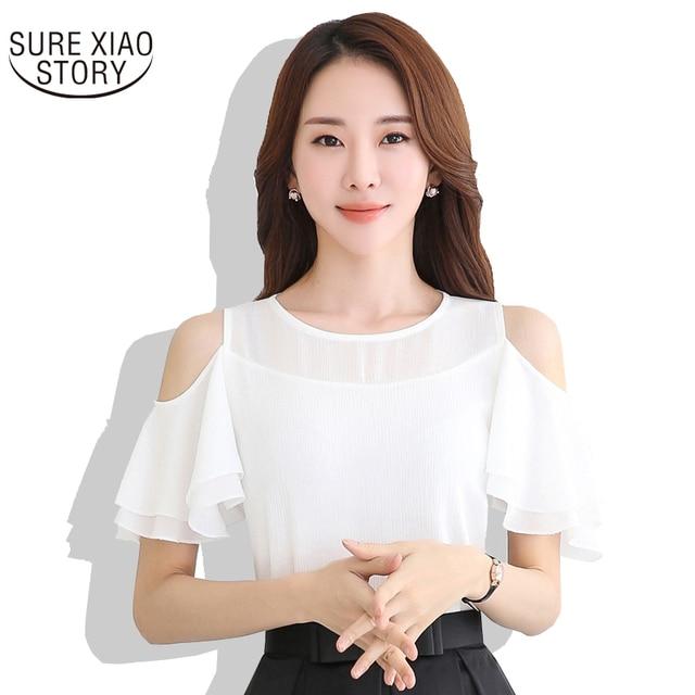 51c94a3e669 Для женщин белые шифоновые блузки летние женские повседневные с открытыми  плечами оборками рубашки 2017 Топы женские