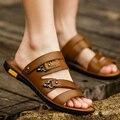 Tidog 2016 nuevas sandalias de verano zapatillas de cuero peep-toe de doble uso masculino fresco antideslizantes transpirable zapatos de ocio