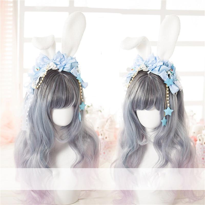 Japanese Harajuku Style Sweet Lolita Handmade Bunny Ears   Headwear   Cosplay Bow Tassel Stars Hairpin Headband Party Accessories