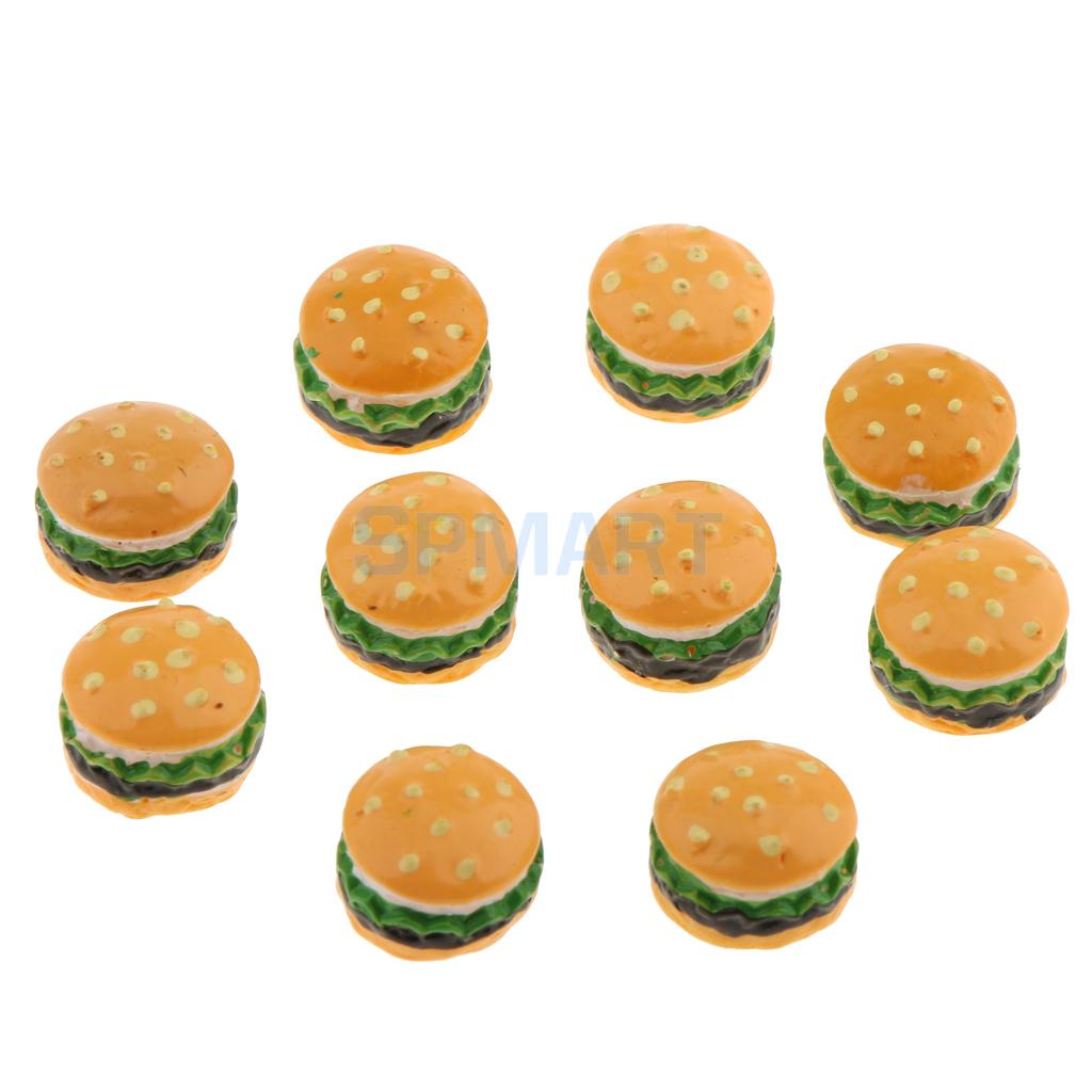100Pcs Miniature Resin Hamburgers 1:6 Dollhouse Food Accessories MEDIUM SIZE