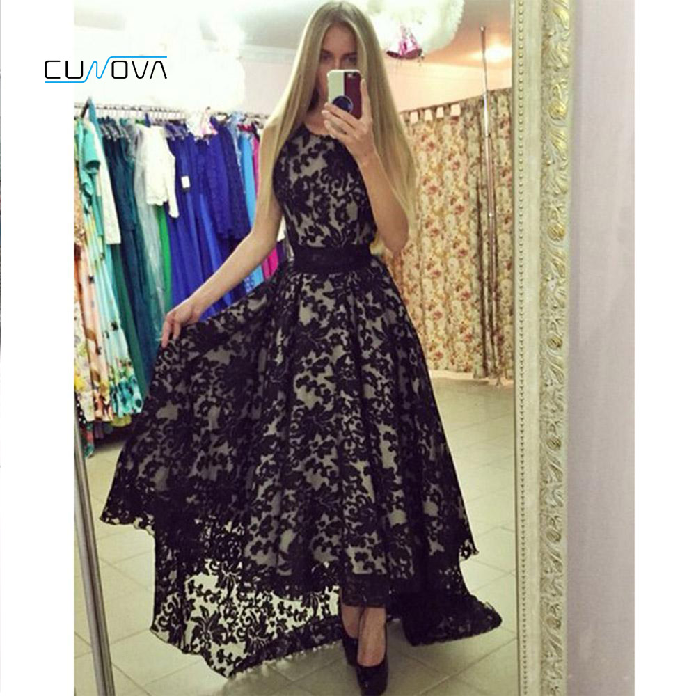Country Style 2019 Hi Lo Black Long   Prom     Dresses   Crew Neck Lace A Line Elegant Evening Gowns Special Occasion Homecoming   Dress