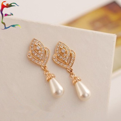 Free Shippping 12pairs Lot Fashion Peach Heart Rhinestone Water Pearl Drop Earring Gold Crystal Flower