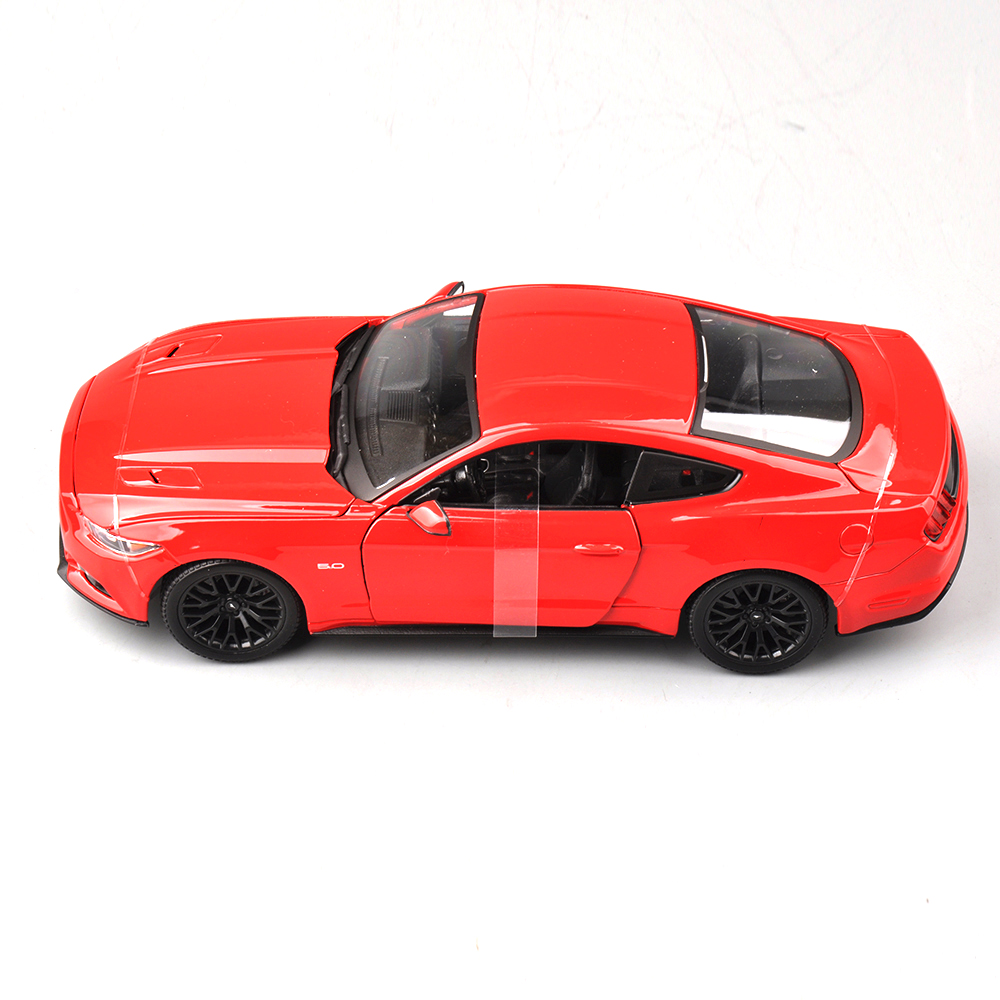 1/18 Scale Diecast Car Models Ford Mustang 2015 Model Car With Open Doors Children Toys Collections Gifts Black and Red 1 18 scale hummer h1 red and black off road king diecast car model gifts collections toys for boys