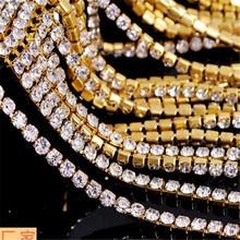 AB белый горный хрусталь серебро золото чашки коготь цепи плотные хрустальные стразы коготь из сплава цепи, 10 м/лот, B031