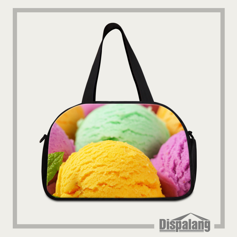 Dispalang Women Travel Bags Large Capacity Ice cream Print Luggage Duffle Bags For Trip Girls Gym Bags Hot Fitness Bag