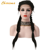 Charisma Twist Braids Lace Front Wigs Hair Extension Synthetic Straight Lace Front Wig With Baby Hair Natural Hairline For Women
