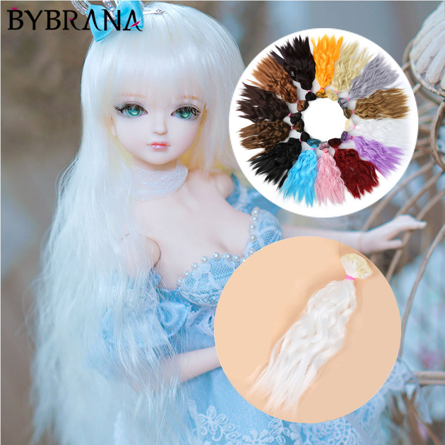 Bybrana Long Curly Black Brown White Hair High Temperature Fiber 25cm*100cm BJD SD Wigs DIY Wig For Dolls Free Free Shipping