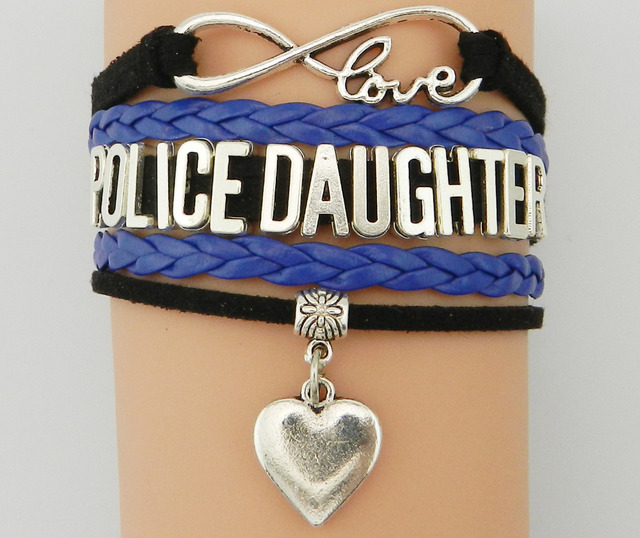 Drop Shipping Infinity Love Police Daughter Bracelet Heart Charm Custom Black With Blue Braided Leather