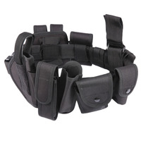10pcs Set Multifunctional Tactical Waist Belt Tactical Thick Security Guard Waist Strap Waistband Black