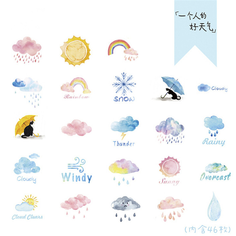 46pcs/set Good Or Bad Weather Stickers Set Decorative Stationery Stickers Scrapbooking DIY Diary Album Label School Supplies