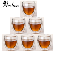 Arshen 6pcs/Set 80ml Double Wall Heat Resistant Cup Clear Handmade Tea Drink Healthy Drink Cups Coffee Insulated Gift