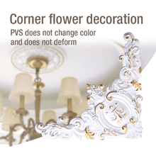 Home decor ceiling lamp corner flower decoration stickers furniture decals hollow PVC home accessories DIY wood carving flowers dongyang wood carving applique motif wood shavings corner flower fashion solid wood furniture smd background wall ceiling home
