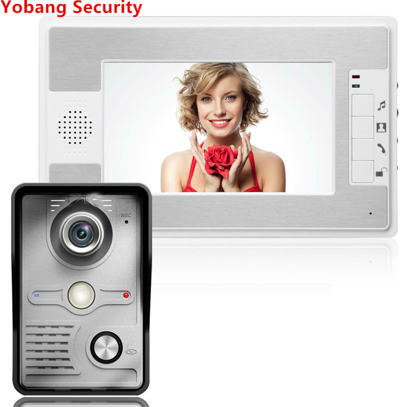 Yobang Security freeship Video Doorphone 4-Wires Video Intercom System 7-inch Color Monitor and HD Camera Video Doorbell yobang security freeship 7 video intercom for villa 2 monitor doorbell camera with 5pcs rfid cards hd doorbell camera in stock