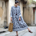 Vestidos 2017 Women Spring Autumn Dresses O-neck Long-sleeve Vintage Print Plate Button Linen Dress Casual Long Robe S186-1