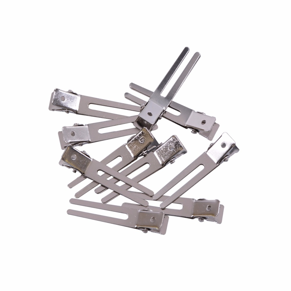 10 Pcs 45mm Double Prong Alligator Hair Clips Flat Metal Boutique Hairpins With No Teeth For DIY Hair Styling Accessory