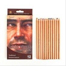 Peroci 12 цветов/коробка деревянная кожа оттенки пастельный цвет карандаш для рисования профессиональный карандаш для кожи
